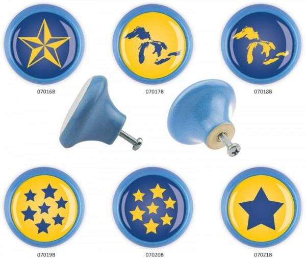 Möbelknopf Set 6er IMB0115B Blau Gelb Blau Muster - Swami Designer Möbelknauf Möbelgriff Set