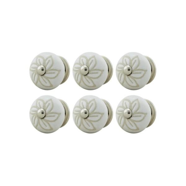 Jay Knopf 6er Möbelknopf Set 045GN Perforiert Blume Beige Weiß