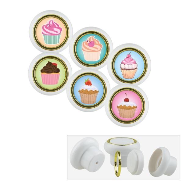 Kunststoff Möbelknopf Set 011WP Cup Cake Küche 6er
