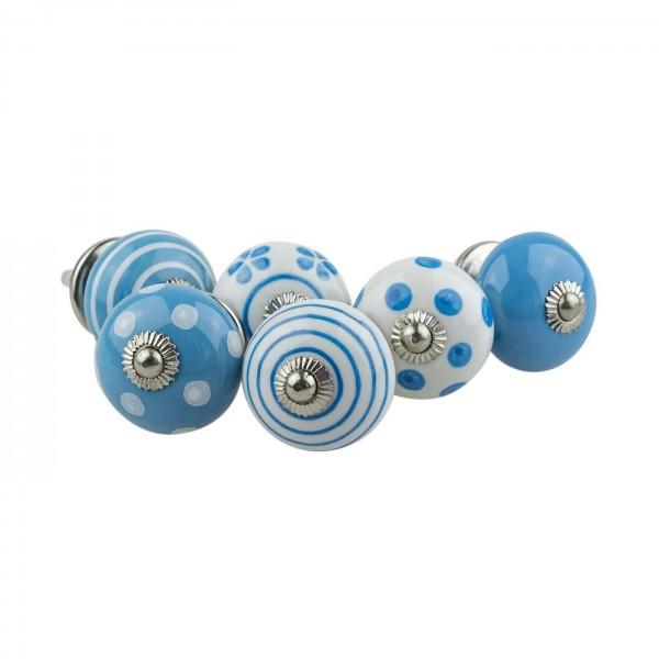 Jay Knopf 6er Möbelknopf Set 082GN Punkte Kreise Tupfer Weiß Blau - Vintage Möbelknauf