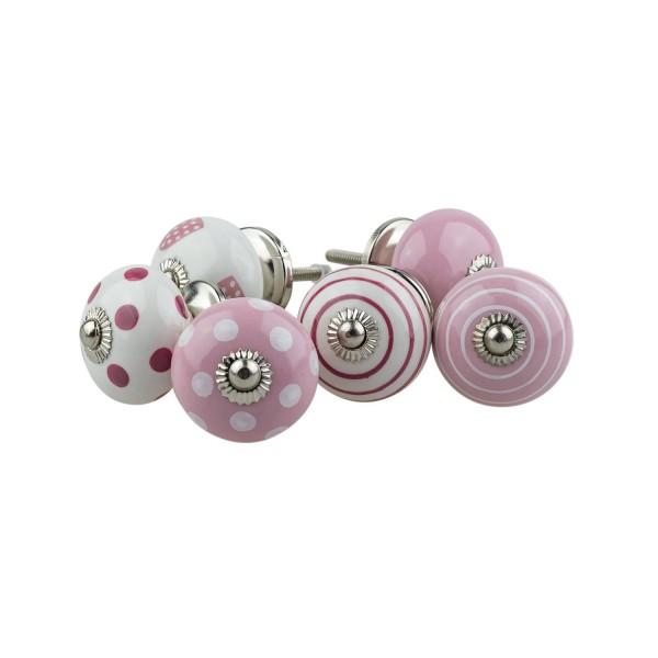 Jay Knopf 6er Möbelknopf Set 063GN Punkte Tupfer Kreise Herz Rosa Pink Weiß