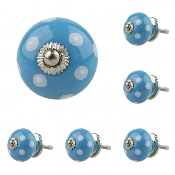 Jay Knopf 6er Möbelknopf Set 034GN Punkte Weiß Blau - Vintage Möbelknauf