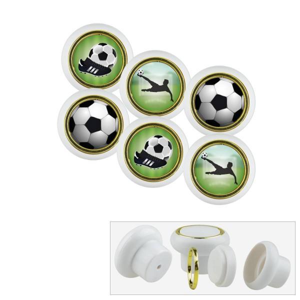 Kunststoff Möbelknopf Set 016WP Fußball 6er