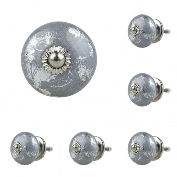 Jay Knopf 6er Möbelknopf Set 023GN Struktur Silber Grau - Vintage Möbelknauf