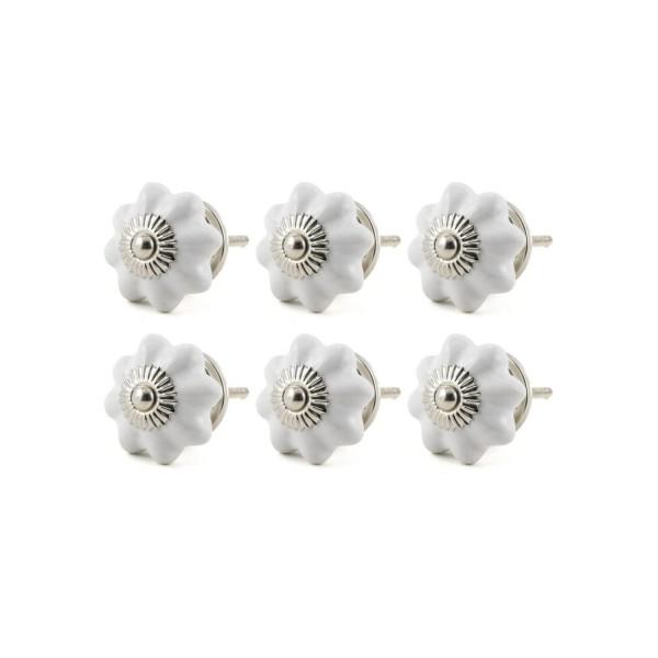 Jay Knopf 6er Möbelknopf Set 049GN Pumpkin Kürbis Blume Weiß - 15020-E Möbelknauf
