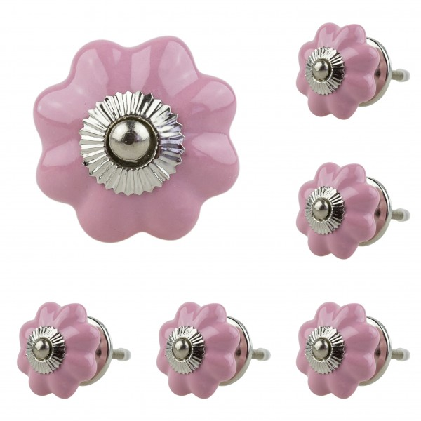 Jay Knopf 6er Möbelknopf Set 051GN Pumpkin Kürbis Blume Rosa - Vintage Möbelknauf