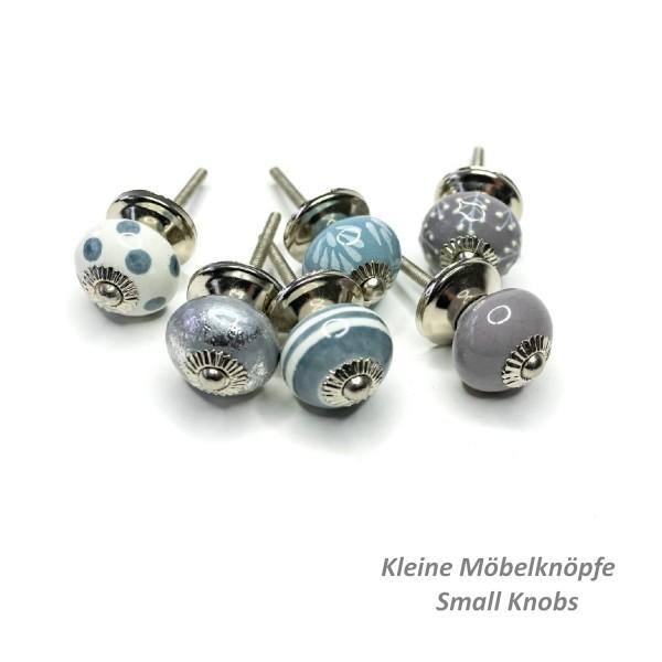 Jay Knopf 6er Möbelknopf Set Klein 075GN SM Punkte Kreise Struktur Grau Blau Weiß